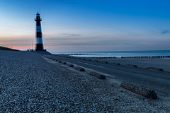 Before The Night - Breskens [Explored 03/19/2016] (Stef Kocyla) Tags: blue sea lighthouse netherlands zeeland hour dike vlaanderen breskens zeeuws