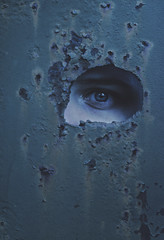 hole in my wall (L. Paul) Tags: eye texture strange zeiss dark rust hole sony eerie wife abstractportrait rustyhole a6300 rustytexture zeiss5518 sonya6300 holeinmywall