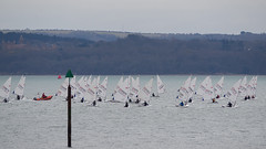 Solent Dinghy Sailing (fstop186) Tags: blue sea mist seascape club landscape lumix boat haze sailing wind horizon olympus racing safety panasonic isleofwight solent marker rib breeze buoy dinghy stewards flotilla em1 dinghies mft microfourthirds lumixvariog100300mmf4056megaois