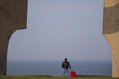 Mirando al mar, so... (fertraban) Tags: travel man mar gijn asturias cimadevilla hombre maleta traveler viajero xixn cantbrico cimavilla