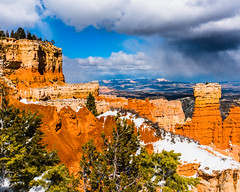 Bryce Canyon 22 (MarcCooper_1950) Tags: trees red sky orange snow colors clouds landscape utah nikon scenery rocks vivid canyon cliffs hills southern boulders hoodoo bryce rainfall hdr formations lightroom mounatins brycecanyonnationalpark geologic d810 marccooper