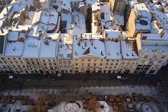 White Snow on Roofs of Old Town (tarmo888) Tags: snow aerialview lviv ukraine medieval unesco lumi lvov marketsquare   lww lemberg  lwow leopolis ukrayina photoimage  sooc sonyalpha   ratusha ploshcharynok autohdr sony geosetter  geotaggedphoto nex7 sel18200 foto year2016