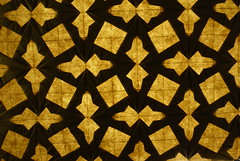 Double Spearhead Tessellation  backlit (Micha Kosmulski) Tags: brown yellow backlight square beige origami double backlit spearhead tessellation michakosmulski ekoluxpaper