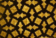 Double Spearhead Tessellation — backlit (Michał Kosmulski) Tags: brown yellow backlight square beige origami double backlit spearhead tessellation michałkosmulski ekoluxpaper