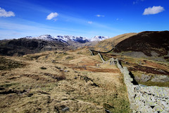 The Wall (nigelhunter) Tags: cloud mountain lake colour stone landscape o heather district hill ngc dry cumbria bracken pike crags fell langdale upland bowfell crinkle lingmoor blisco