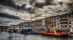 Dramatic sky at the docks (Tra Te E Me (TTEM)) Tags: sky water clouds photoshop boats dock eau bateaux ciel nuages quai hdr photomatix lumixfz1000
