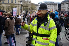 DSC00922 (Solan creative) Tags: portrait people london sign pig mask weekend crowd protest police angry government austerity