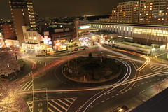 Station Square (Kunitachi, Tokyo) (seiji2012) Tags: longexposure station night lights traffic  rotary     canonflickraward
