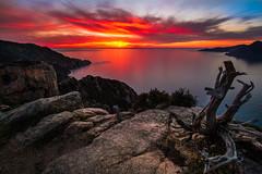 Fire in paradise (corsicagwen) Tags: sea mountains sunrise landscape soleil corse coucher piana calanche