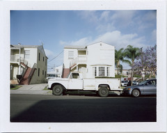Workhorse (T-Terror) Tags: house color truck vintage polaroid 100mm instant dodge day7 sandiegoca polaroidweek mamiyauniversal fujifp100c roidweek roidweek2016