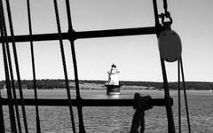 Goose Rocks Light Fox Island Thorofare 8-23-1988mrf4 (ironmike9) Tags: ocean sea lighthouse water island coast boat seaside ship maine vessel atlantic sail schooner rigging seacoast uscg roseway gooserockslight foxislandthorofare