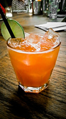 Chupacabra (alanosaur) Tags: food toronto blanco ice glass bar dinner restaurant drink beverage tequila butcher alcohol meal grapefruit lime campari barque chupacabra 2016