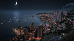 Monaco by night (Manjik.photography) Tags: city travel blue light sunset sea sky moon france building tourism nature beauty skyline architecture night port marina sunrise french landscape star evening coast harbor boat europe downtown mediterranean riviera sailing cityscape view yacht dusk culture aerial casino monaco illuminated tennis moonlight coastline carlo monte formula1 luxury d810 manjik