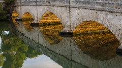 The old bridge (hjuengst) Tags: bridge reflection water reflections spain wasser urlaub brcke mallorca spiegelung spanien majorca goldenlight stonebridge reflektionen oldbridge steinbrcke altebrcke goldeneslicht