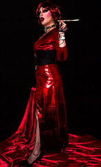 Gothic diva in red shiny dress (Juliapanther Over 36 million views, thanks!!!) Tags: red high highheels julia cigarette makeup posing fishnet lips smoking heels latex lipstick diva panther pantyhose nylon pvc holder juliapanther