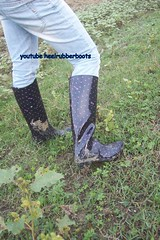 high heels rain boots with dot point on shiny black (heelrubberboots) Tags: girls sexy wet rain fetish high slim with mud boots mit rubber jeans heels proof absatz muddy rainwear gummistiefel wam shwer insex cloting