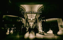 for the beloved one longs most - Lumiere London 2016 (Simon & His Camera) Tags: street city people urban london window monochrome shop sepia night lights evening neon distorted lumiere passage simonandhiscamera