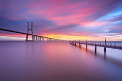 Color Festival ! (CResende) Tags: longexposure travel bridge color reflection portugal water architecture sunrise colorful lisboa lisbon le nikkor hitech vascodagama formatt d810 visitportugal cresende