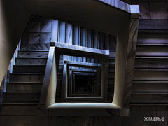Night Stairs (Wilhelm X Photography) Tags: wood blue espaa brown black color building luz azul museum architecture modern stairs gris noche calle spain rojo arquitectura madera stair negro edificio gray banco bank panoramic caja zaragoza escalera architect panoramica aragon museo pinos coches escaleras moderna lucernario arquitecta ahorros carme desplat savingsluces blclaraboyalucerna