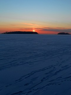Red sunset in the middle of freezing winter/ Joensuu, Finland