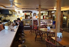 Having a little soup at the counter at the Barnard General Store