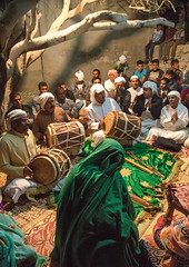 men playing drums during a zar ceremony, Qeshm Island, Salakh, Iran (Eric Lafforgue) Tags: people music tree men vertical night outdoors zar women asia iran drum spirit traditional ceremony culture traditions belief persia demon ritual custom groupofpeople cultures trance cultural customs illness middleeastern persiangulf qeshmisland culturally hormozgan   5people  iro straitofhormuz  colourpicture gowat  salakh paganpractice harmfulwind irandsc03807