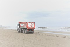 Lost at the beach (fotoartdiary I photography) Tags: winter sea sky tourism beach fun toys frozen seaside playa nopeople tourismus lkw beachtoys