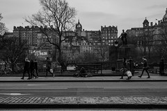 Passing By (Steve Gallazzi) Tags: city people blackandwhite bw art contrast 50mm scotland nikon edinburgh f14 streetphotography sigma d610