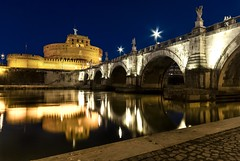 Bridge to Castel Sant'Angelo: sparkling lamps (simone_aramini) Tags: rome colour roma nikon cloudy ngc cityscapes naturallight nightlight colori nikond200 nationalgeografic