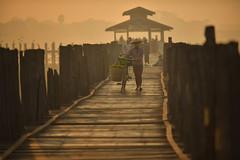 U bein bridge (SaravutWhanset) Tags: life wood travel bridge light sunset summer sun sunlight asian thailand asia action burma traditional culture thai myanmar mandalay bagan