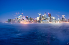 Cold Weather Alert (Empty Quarter) Tags: city blue winter urban toronto ontario ice fog skyline sunrise dawn pier twilight downtown cityscape cntower sony hour f4 2470 polson a7r