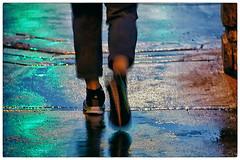 traffic light tye-dye (Wanderfull1) Tags: calgary feet colors night walking downtown centrestreetbridge wetpavement plus15 niksoftware photoshopcs5