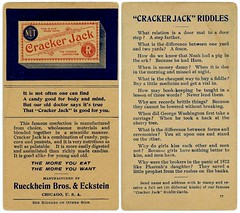 Cracker Jack Riddles (Alan Mays) Tags: ephemera riddlecards jokecards cards advertising advertisements ads paper printed crackerjackriddles riddlejokes jokeriddles riddles jokes crackerjack snacks confections candies popcorns peanuts foods boxs packages packaging logos rueckheimbroseckstein rueckheim slogans rueckheimbros eckstein manufacturers chicago il ill illinois illustrations red blue humor humorous funny amusing wordplay puns punning borders 1906 1900s antique old vintage typefaces type typography fonts