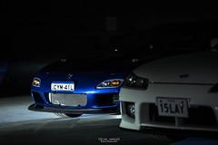 Spotlight. (God_speed) Tags: blue black art sports car night dark japanese garage front turbo bumper dim mazda rx7 rotary jdm intercooler rotor fd3s fd series7 series8