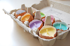 Eggshell Candles (Heath & the B.L.T. boys) Tags: egg eggcarton candle diy spring
