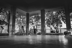 Temple Park (vinothrajas) Tags: park street sleeping blackandwhite bw woman man lady monkey blackwhite frames sitting streetphotography rest oldwoman dailylife thanjavur speaking piller bigtemple sivatemple womanlife templepark