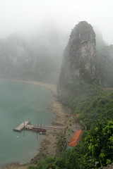 Looking down to the entrance pier (koukat) Tags: cruise classic bay long iii vietnam surprise cave ha hanoi sot sung bhaya