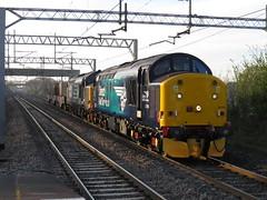 37716 & 37688  on 6C53 Crewe Coal Sidings - Sellafield B.N.F 21/04/2016 (37686) Tags: bridge 3 sunrise before just crewe bnf passing coal load acton sellafield flasks sidings 37688 37716 kingmoortmd 6c53 21042016