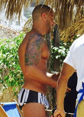 IMG_0806 Tommeboom (danimaniacs) Tags: shirtless man hot guy pecs tattoo beard hunk trunks swimsuit stud scruff bulge sext