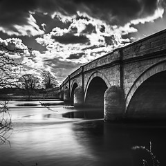 91/366 (jim-green777) Tags: uk bridge england blackandwhite bw water monochrome clouds river britain derbyshire derby rivertrent 2016 swarkestone ndfilter nd110 nikond610 jimgreenphotographer