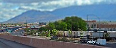 Heading Out Of Town-HSS! (Jo-85'F today. Whew, gonna be HOT!!!) Tags: travel sky blur cars interstate i40 sandiamountains tiltshift sliderssunday