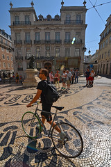 Praa Lus de Cames, cyclist (Thomas Roland) Tags: city travel shadow portugal bicycle stone by square de europa europe pattern cyclist outdoor pavement stones lisboa lisbon cobblestone cycle praa lissabon marble cykel lus cames plads brosten rejse cyklist fortov