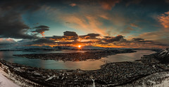 When the sun says good night (mirrormatch) Tags: sunset panorama ngc arctic solnedgang troms fjellheisen