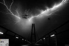 Tesla Bridge in B&W (Stefan Liebermann) Tags: street city travel bridge light summer sky blackandwhite bw storm abstract building art nature monochrome rain weather architecture night clouds germany dark landscape deutschland lights licht thringen nightscape nacht sommer sony natur himmel thuringia stadt bolt architektur sw bolts thunderstorm lamps lightning awards blitz brcke bauwerk gewitter thunder regen wetter reise ilmenau sturm lightnings blitze schwarzundweis