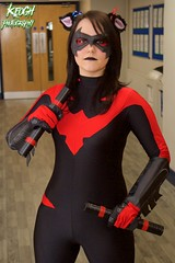 IMG_8489 (Neil Keogh Photography) Tags: pink blue red black female comics mask boots cosplay videogames gloves hero batman cosplayer dccomics jumpsuit nightwing batons gauntlets animatedseries manchesteranimegamingcon2016