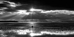 From darkness came the light (Greatdog) Tags: sea sky blackandwhite landscape dorset sandbanks poole pooleharbour cloudsstormssunsetssunrises