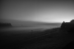 untitled (ChrisRSouthland (mostly off)) Tags: newzealand blackandwhite mist monochrome fog landscape grey dawn mood moody earlymorning graduation blackandwhitephotography elmarit28mmf28 mmonochrom