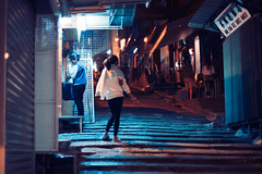 Hong Kong Blues (Jon Siegel) Tags: street blue people woman mystery night stairs hongkong 50mm evening lowlight nikon women moody candid smoke smoking lankwaifong 12 nikkor cinematography cinematic ais 50mmf12 d810 nikon50mmf12 nikkor50mmf12ais