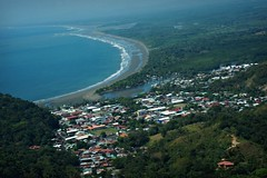 "Every day should be ""Earth"" Day! (Kim's Pics :)) Tags: ocean city blue trees houses green water airplane town costarica waves view earth scenic aerial land vegetation coastline cessna quepos"