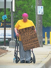 It's commonplace to see obese panhandlers claim they're starving. (kennethkonica) Tags: street pink people usa signs yellow cane america canon spring women midwest faces expression candid indianapolis fat culture streetphotography indy indiana cardboard persons begging panhandler annoying beg obese global hoosiers overweight canonpowershot panhandling marioncounty randomoutdoor
